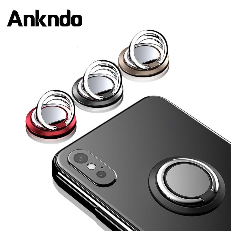 ANKNDO Mobile Phone Ring Holder Foldable Car Holder Plaet Cell Phone Desktop Stand 360 Rotation Ring Holder For Xiaomi Samsung