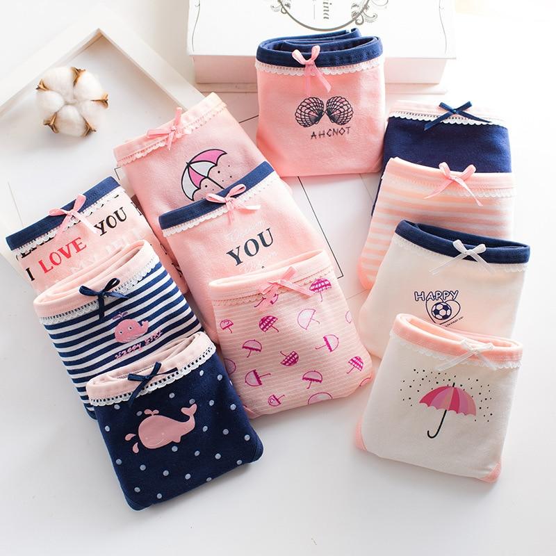 1pcs Girls Panties Children Cotton Underwear Young Girls Briefs Solid Low Waist Briefs Comfortable Lace Bowknot Cartoon Briefs