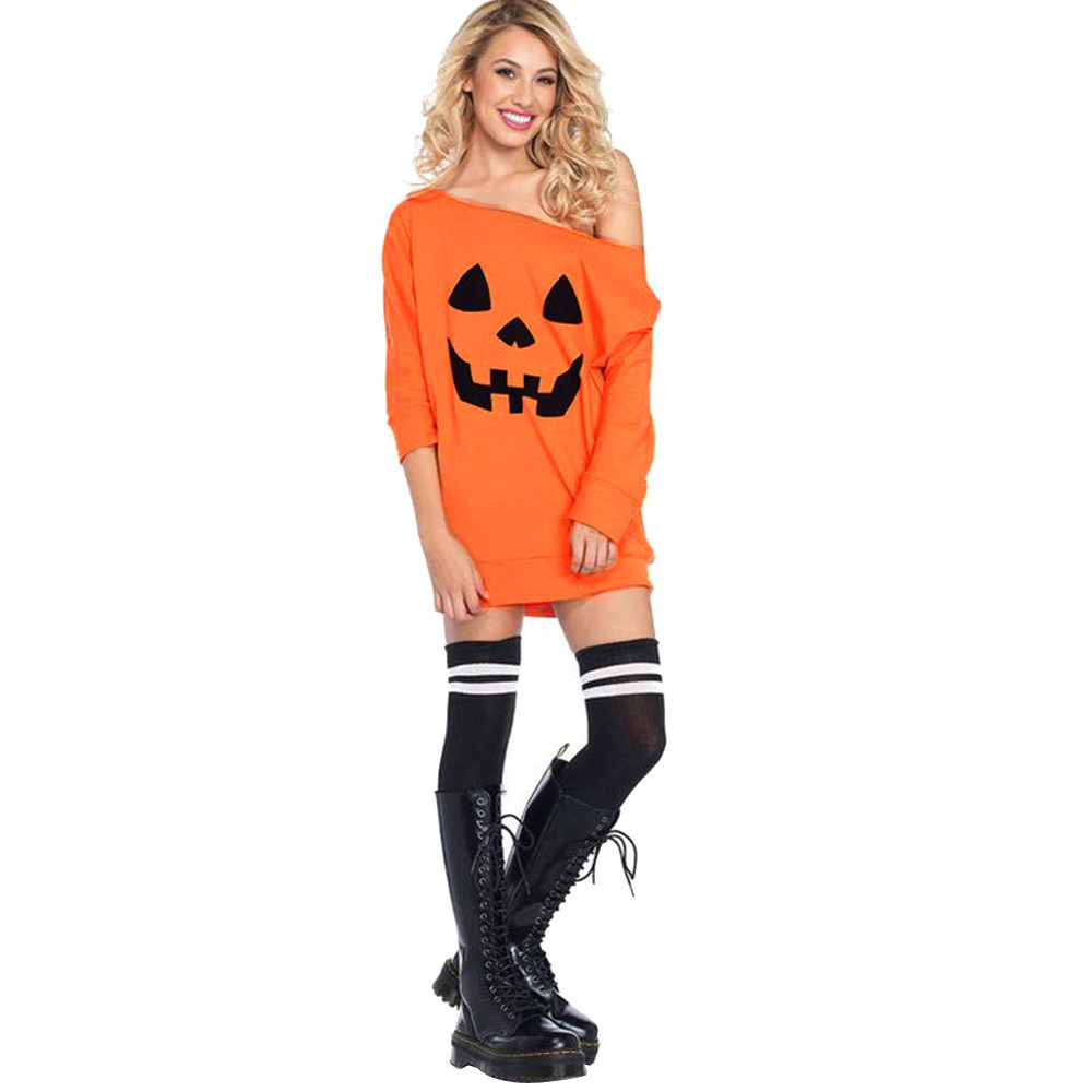 Costume <font><b>Dress</b></font> Cold Shoulder <font><b>Sexy</b></font> <font><b>Vintage</b></font> Women Clothing Tops Halloween Pumpkin Print <font><b>Dresses</b></font> Gifts Elegant Fancy Mujer Vestidos image