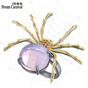 DreamCarnival1989 Exotic Golden Legs Spider Rings for Women Love Feminine Pink Zircon Elegant Anniversary Dating Jewelry WA11879 1