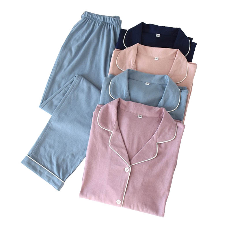 Spring New Lovers Pajamas Set Solid Color Simple Style Cotton Turn-down Collar Cardigan+Pants Couples Sleepwear Loose Homewear
