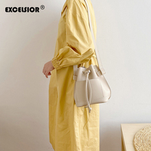 EXCELSIOR String Soft PU Women's Bag Small Crossbody Bags Vertical Version Bucket Bag INS Fashion Small Flap Bolsos Mujer