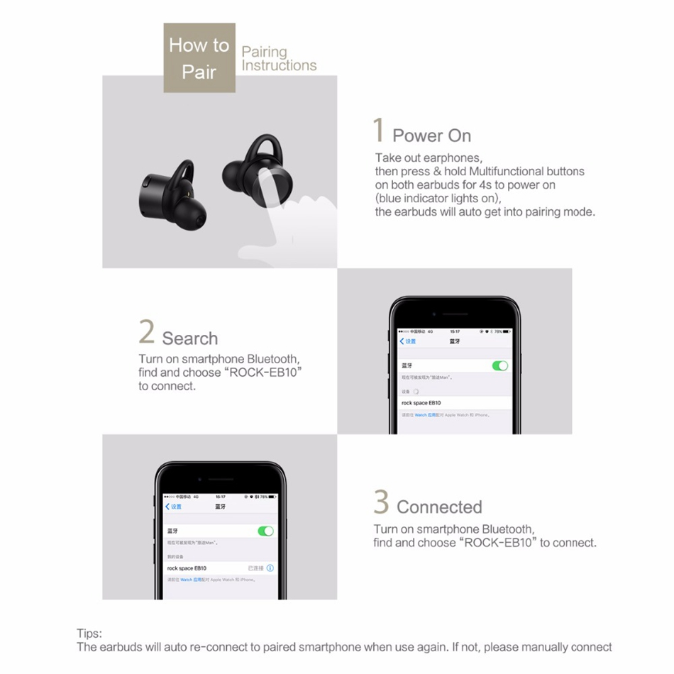 ROCK TWS Bluetooth Fones de Ouvido Sem