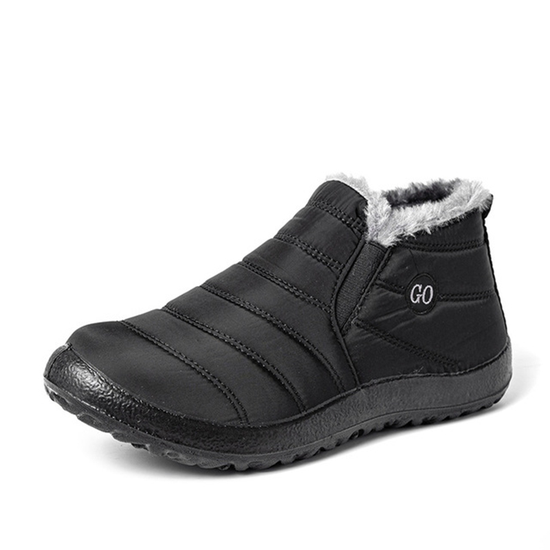 Snow Boots Women Shoes Warm Plush Fur Ankle Boots Winter Female Slip On Flat Casual Shoes Waterproof Ultralight Footwear 30