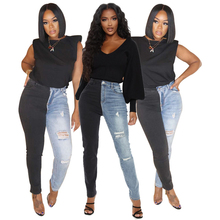 Skinny Jeans Trousers Pants Women Patchwork Streetwear Bodycon-Style High-Waist Fashion