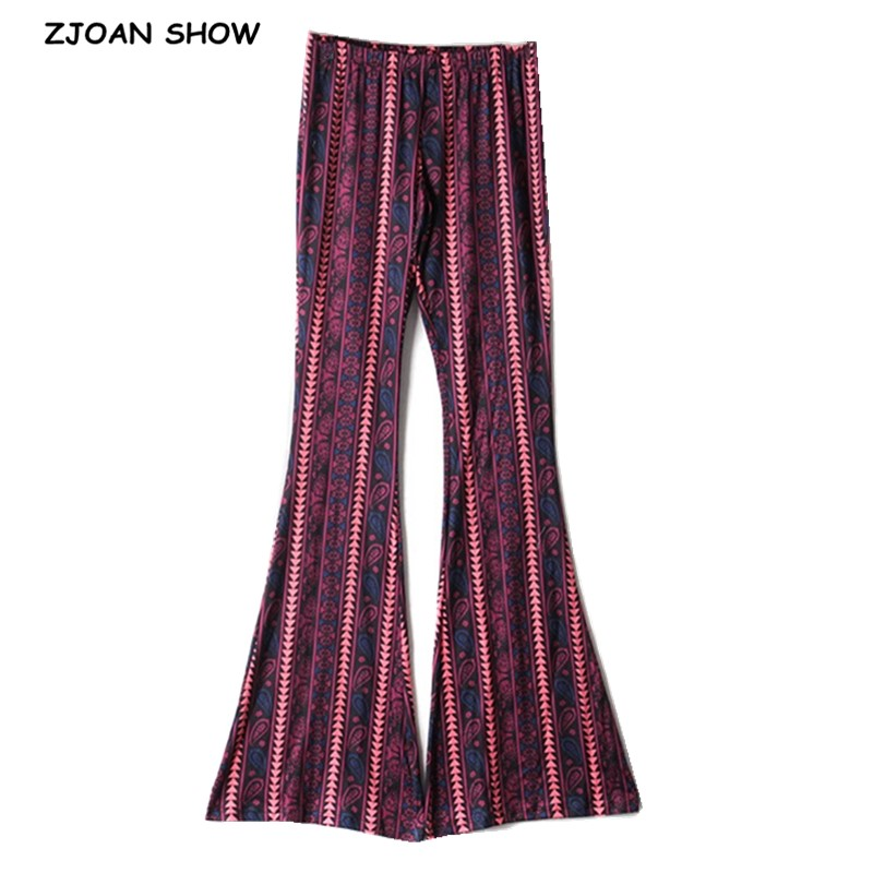 Vintage Geometric Paisley Print Flare Pants Women Bohemia Tribal African Hippie Bellbottom Bell Leggings Bottom Long Trousers