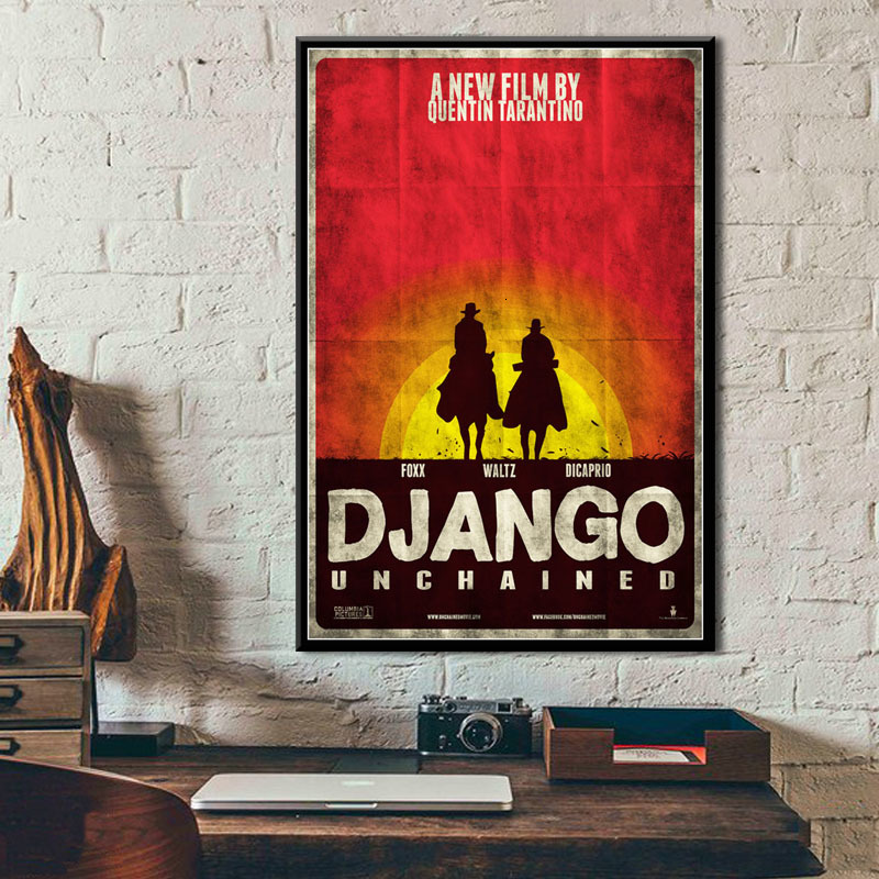 Django Unchained Quentin Tarantino Classic Movie Series Vintage Art Painting Vintage Canvas Poster Wall Home Decor