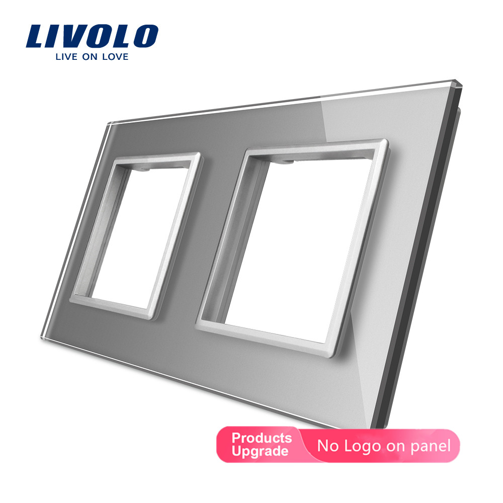 Livolo Luxury  Crystal Glass, EU Standard, Double Glass Frame For Wall Switch&Socket,4 Colors,without Logo
