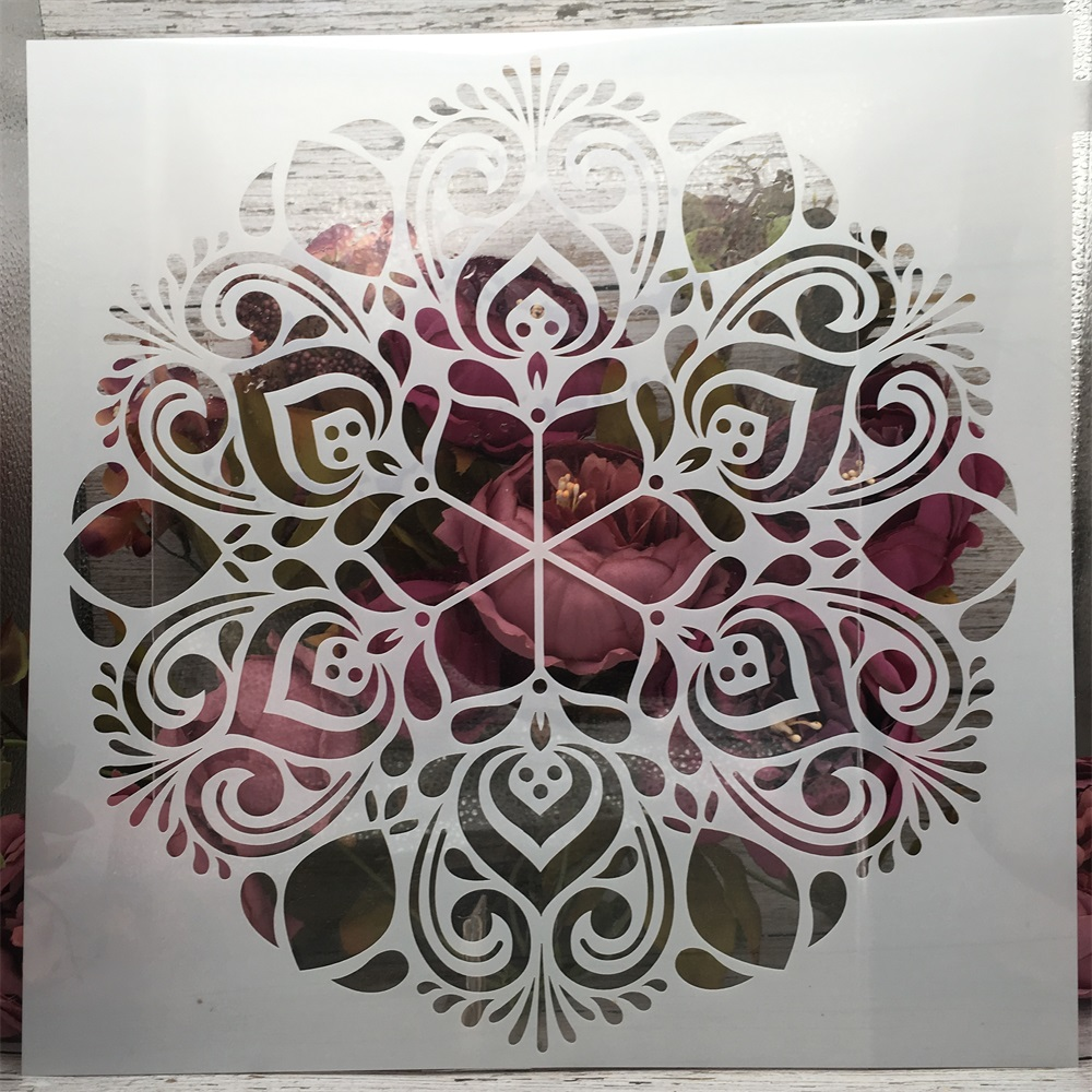 12*12inch Big Flower Round Mandala DIY Layering Stencils Painting Scrapbook Coloring Embossing Album Decorative Template