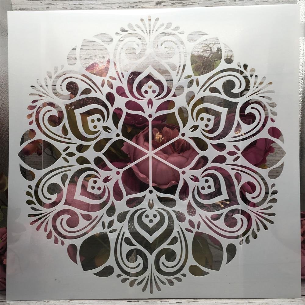 12*12inch Big Flower Round Mandala DIY Layering Stencils Painting Scrapbook Coloring Embossing Album Decorative Template