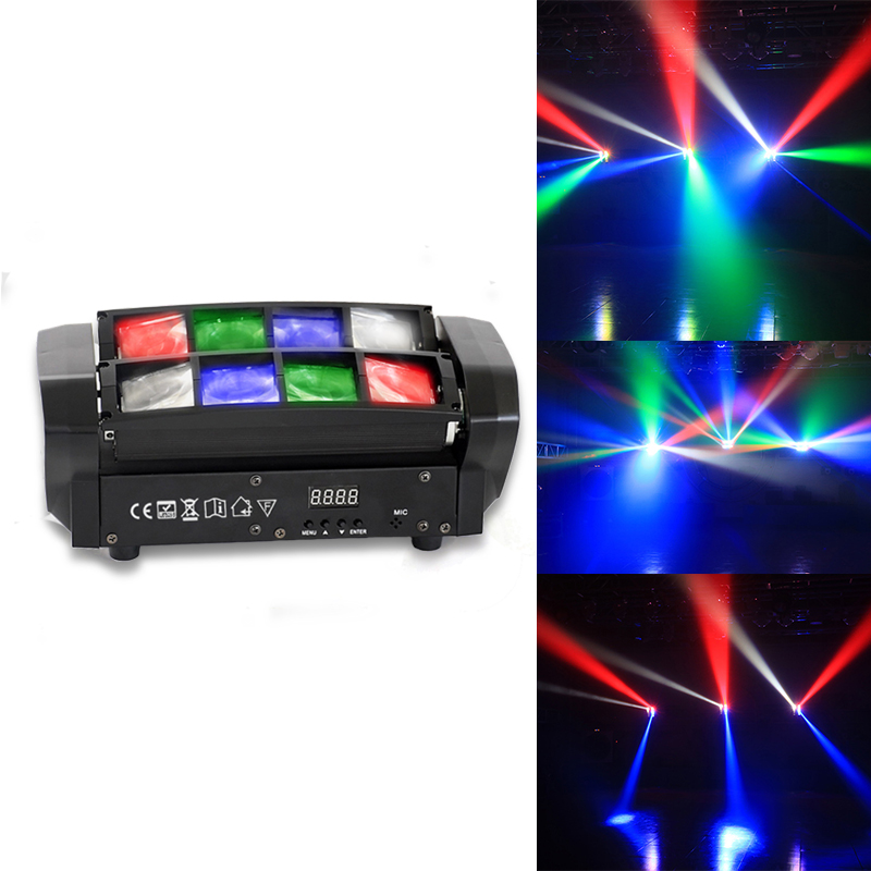 LED 8*10W Disco RGBW Spider Light Home Party DMX512 Moving Head Beam Lights Club Dj Stage Effect Lighting