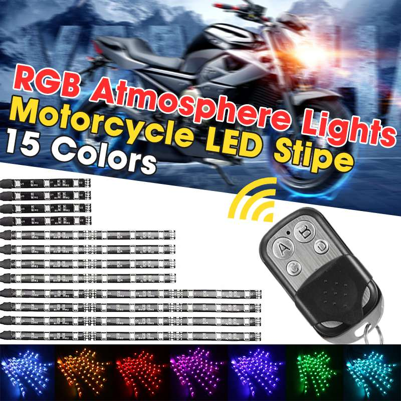 12 Strips RGB LED Car Motorcycle Frame Glow Lights Flexible Neon Strips 5050LED Flashing Light Motorcycle Decorative Lamp Light