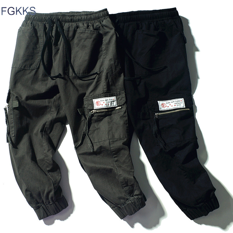 FGKKS Men Multi-Pocket Cargo Pants Men's Washed Solid Color Military Style Trousers Male Fashion Casual Pants