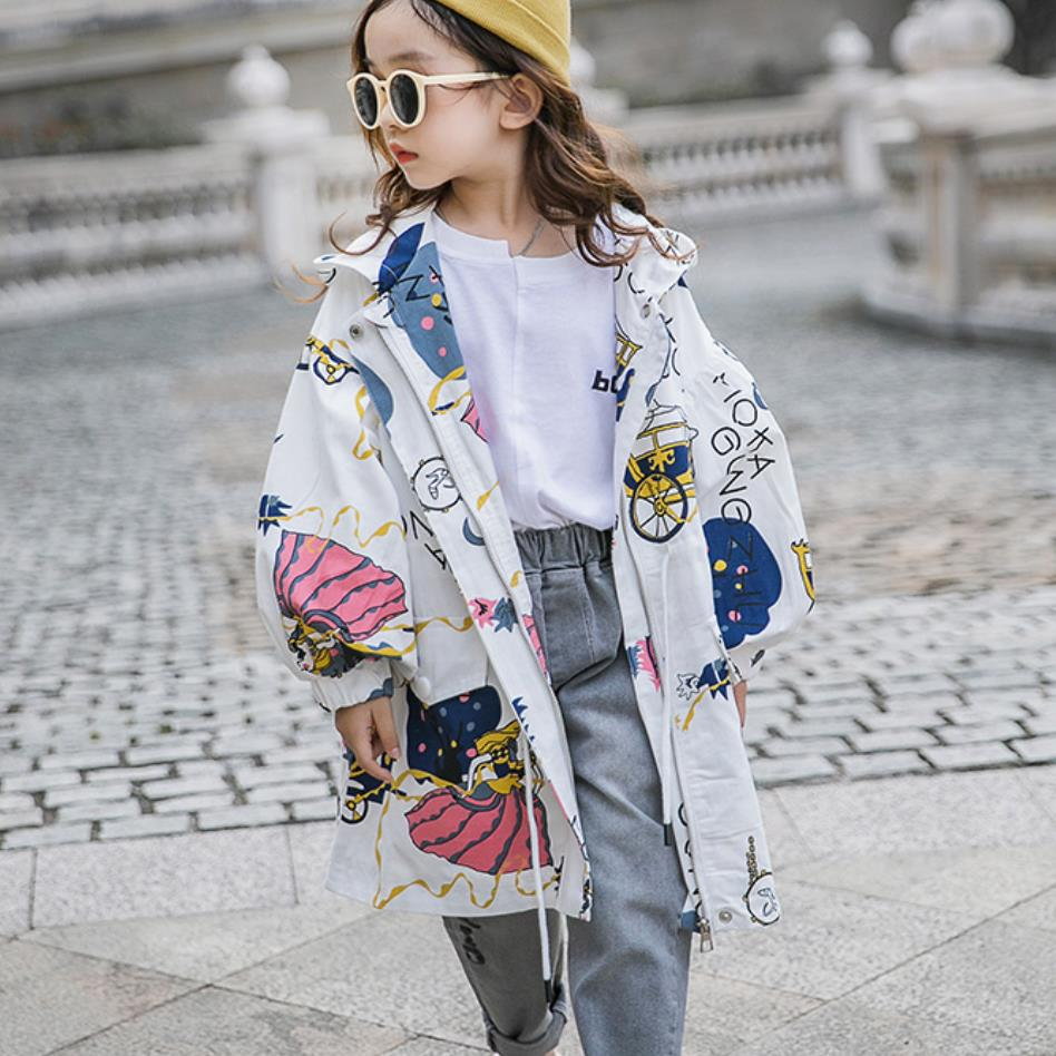 Girls dpring autumn princess print   trench   children outerwear 4-14Y zipper coats for baby girls teenage jackets windbreajer w1077