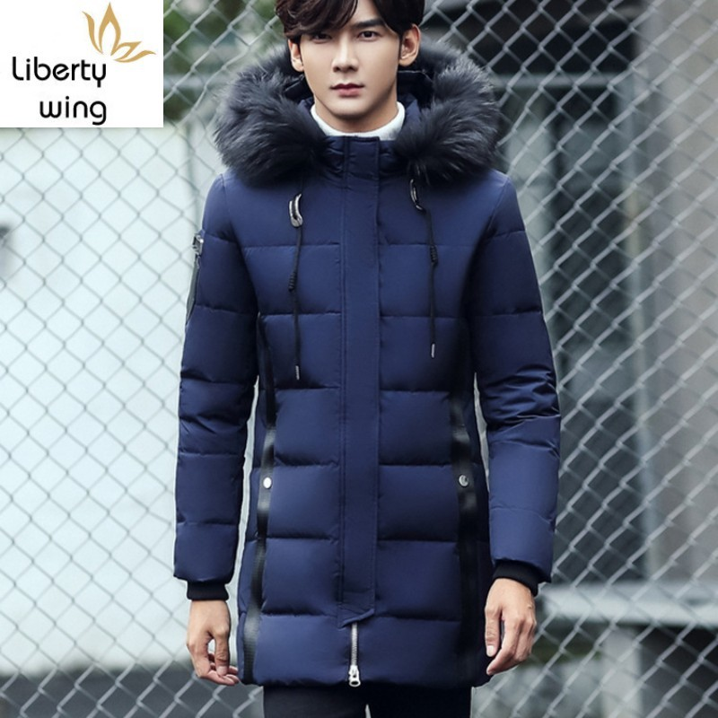 2020 New Fashion Mens Solid Fur Collar Hooded Coat Korean Slim Fit Sleeve Outerwear Male Casual Long Down Jacket M-3XL