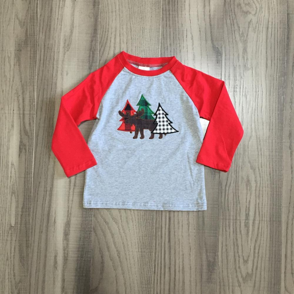 Girlymax Christmas Fall/Winter Baby Boys Boutique T-shirts Clothes Tree Moose Cotton Top Raglans Grey Red Long Sleeve 1