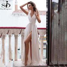 Элегантный Простой сатин свадебное платье сексуальное с v образным