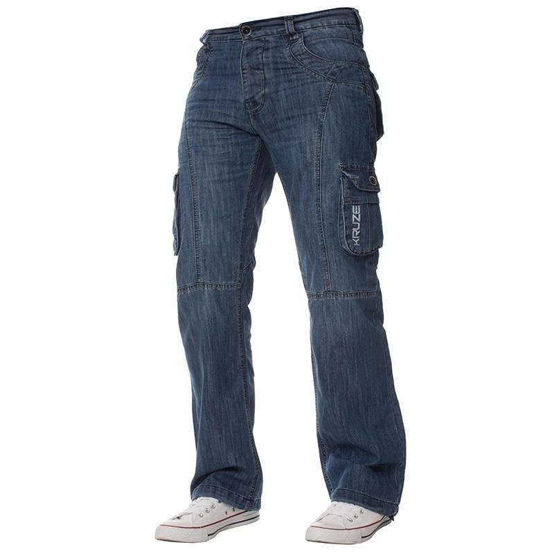 ABOORUN Mens Hip Hop Skateboard Baggy Jeans Big Pockets Loose Straight Denim Pants New Blue Casual Jeans Male R2836