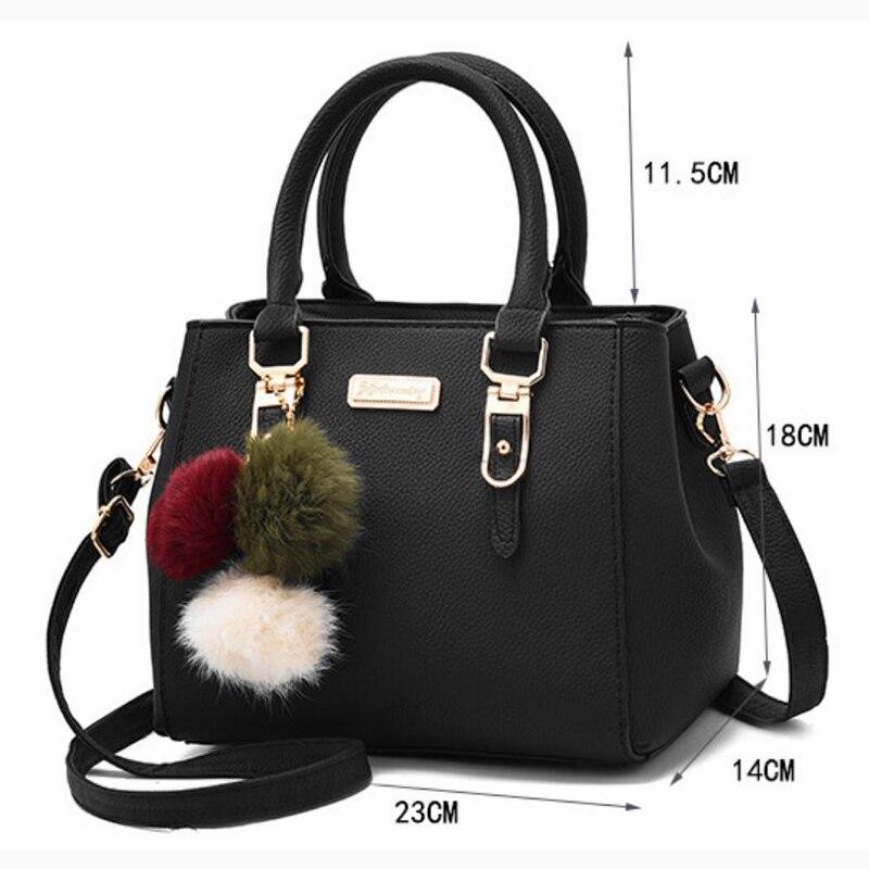 Women Beading Pendant Handbag Ladies Embossed Shoulder Bag Ladies Messenger Bag Hairball Bags High Quality Bag