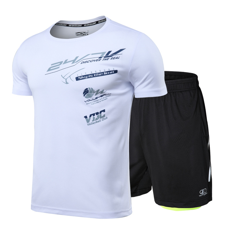 Running Set MEN'S Short Sleeve Gym Sports Set Spring And Summer Thin Quick Drying Clothes Men Fitness Suit Set