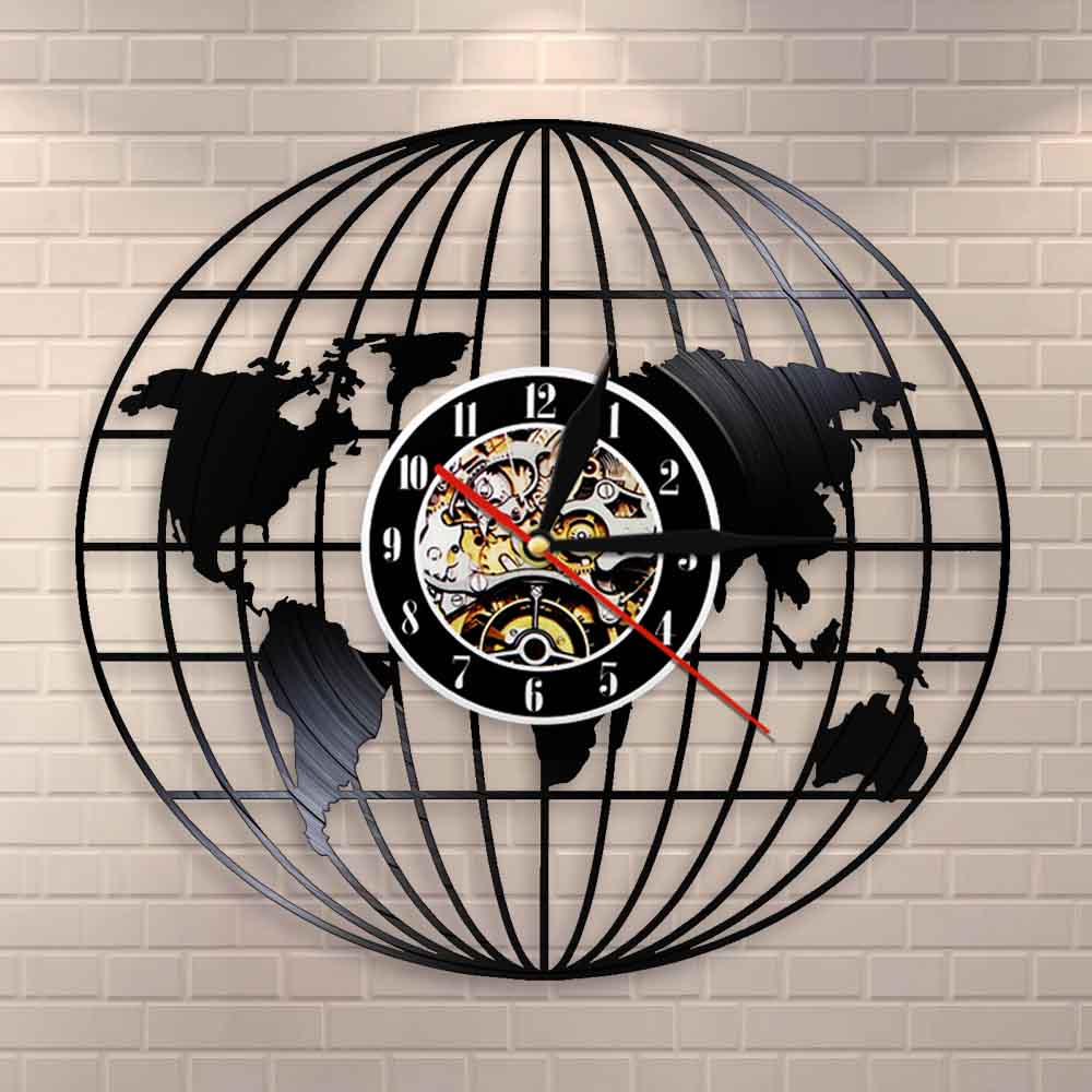 3D Globe Map Of Earth Vinyl Record Wall Art Travel Gifts All Around The World Earth Map Decorative Wall Watch Vintage Clock