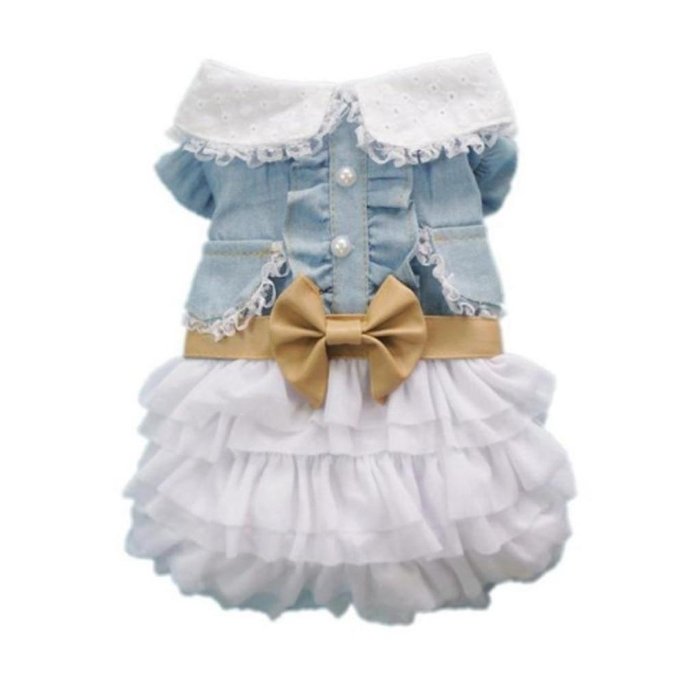 Fashion Cute Dog Wedding Dress Skirt Summer Luxury Princess Pet Clothes Denim Skirt Dog Harness Dress Pet Clothes