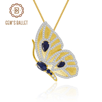 GEM'S BALLET 1.30Ct Natural Sapphire Butterfly Brooches Pendant For Women 925 Sterling Silver Golden Animal Gemstone Jewelry