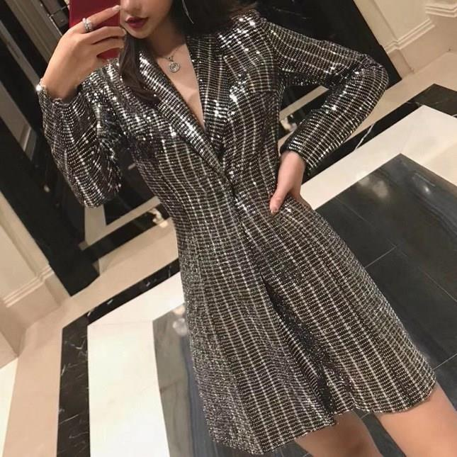 Women Office Jacket Spring Silver Sparkly Sequined Long Blazer Plaid Notched Collar Long Sleeve Blazer