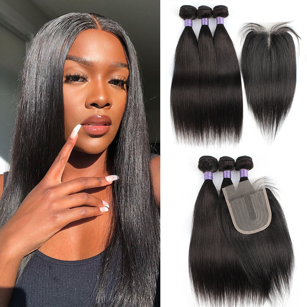Natural color hair bundles with closure straight 200g/set Brazilian human hair middle part 4x4 closure with T type lace