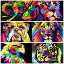 AZQSD Diamond Painting Lion Cross Stitch Handmade Embroidery Colorful Animal Full Square Gift Home Decor