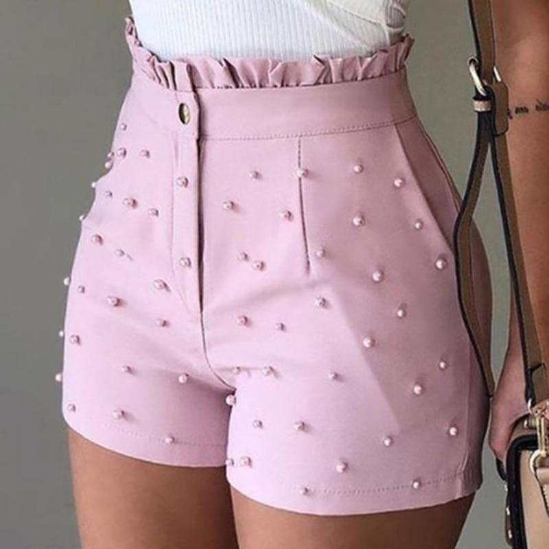 Women's Cute Soild Color Shorts High Waist Zipper Shorts Bead Decoration Office Lady Elegant Short Pants Summer