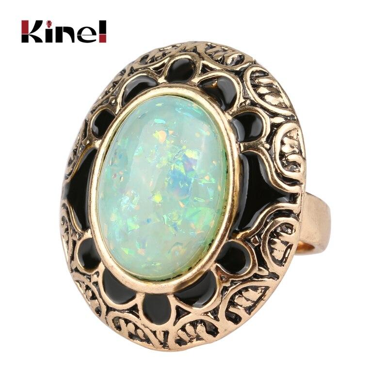 Женское Винтажное кольцо Kinel, кольцо из опалового камня с золотой и черной эмалью, овальное ювелирное изделие в богемном стиле