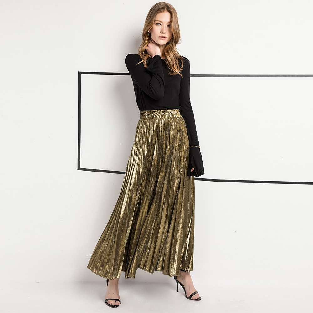 New Arrival Women Elegant Satin Pleated Autumn Winter Fashion Party Office Solid Color High Waist Muslim Long Chic Maxi Skirt