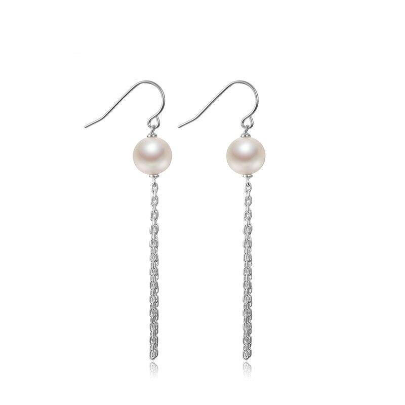 Perle d'eau douce oreille crochet bijoux S925 argent incrusté perle boucles d'oreilles 8-9mm bijoux pour petite amie cadeau