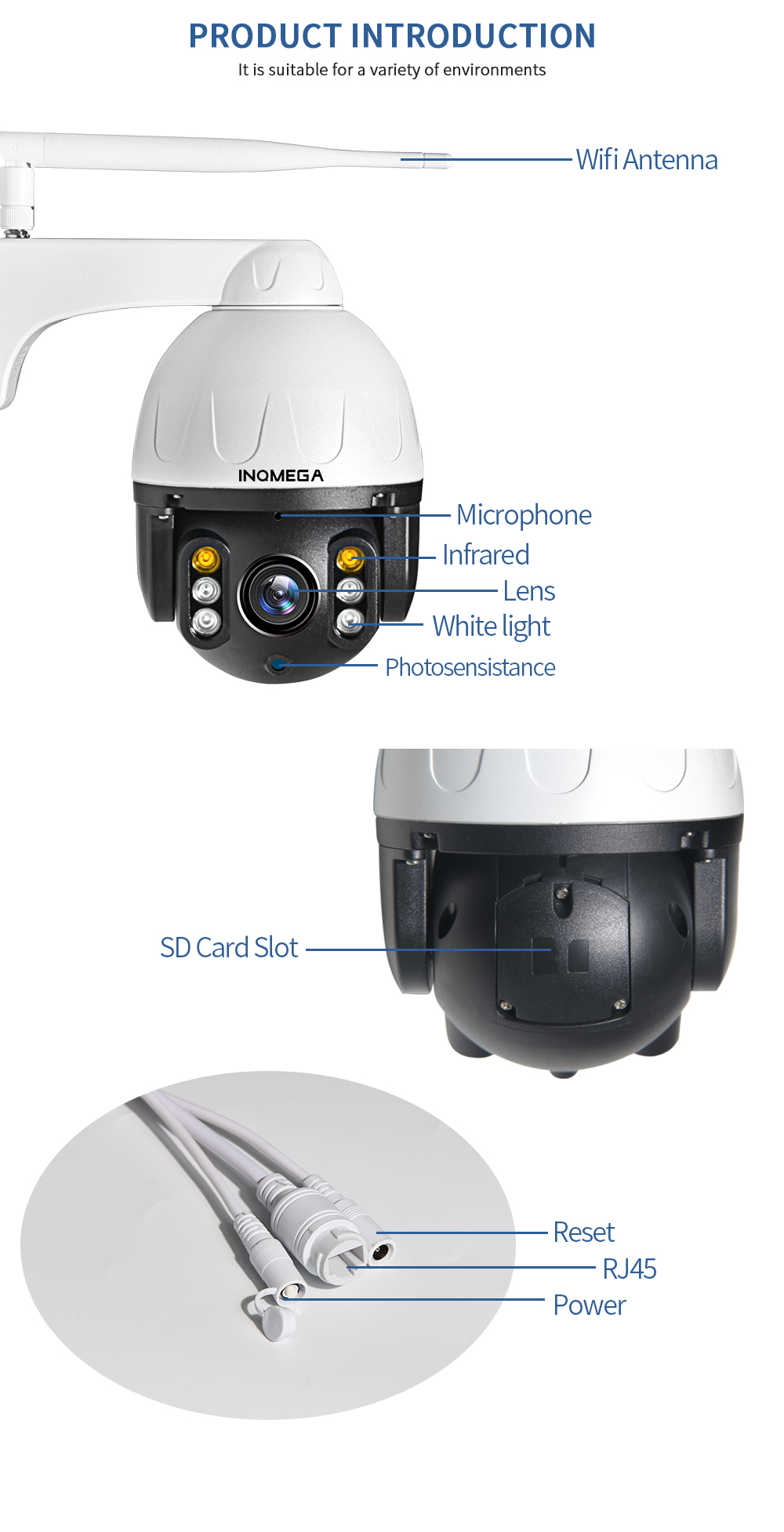 H30d412fb4980440288a2a83ddfe2d1c8I INQMEGA Cloud 1080P Outdoor PTZ IP Camera WIFI Speed Dome Auto Tracking Camera 4X Digital Zoom 2MP Onvif IR CCTV Security Camera