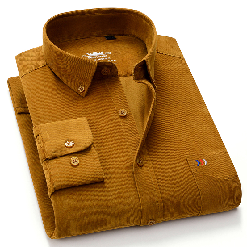 Recommend S~ 5xl 100% Cotton Corduroy Men Casual Shirts Soft Leisure Solid Regular Fit Long Sleeved  Male Work Pocket Shirt