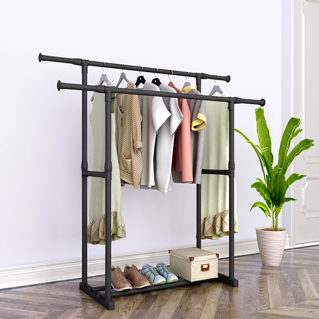 Double Pole Coat Rack Reinforced Steel Frame Clothing Rack Bedroom Furniture Mobile Drying Rack Minimalist Floor Clothes Hanger