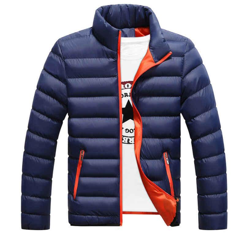 겨울 파커 남성 자켓 슬림 피트 코튼 패딩 두꺼운 따뜻한 스탠드 칼라 아우터 캐주얼 오버 코트 퀼트 의류 코트