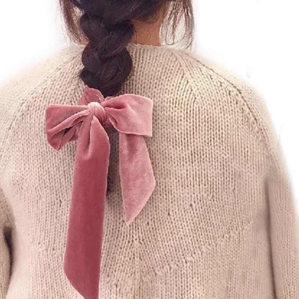 1pc Frauen Samt Bogen Streamer Scrunchies Haar Seil Krawatte Elastische Haar Bands Pferdeschwanz Halter Mädchen Haar Zubehör
