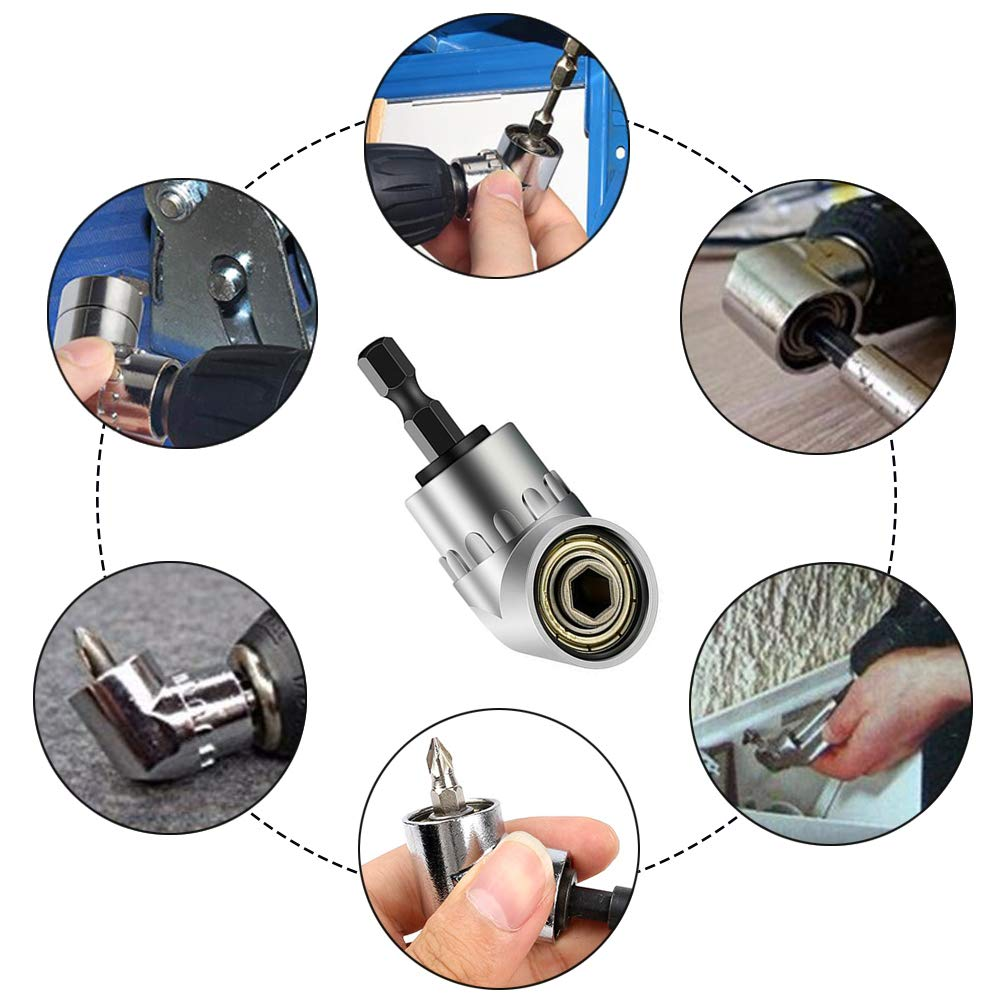 1//4 3//8 1//2Impact Grade Driverdrill Bit Set+105 Degree Right Angle Driver Extension Screwdriver Drill Attachment,Drill Extension,Drill Hex Bit Set,Impact Drill Sockets,Screwdriver Bits Set