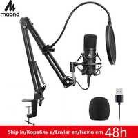 Комплект USB микрофона MAONO AU-A04, 192 КГц, 24 бит, профессиональный конденсаторный микрофон для подкастинга, микрофон для ПК, караоке, YouTube, студийн...