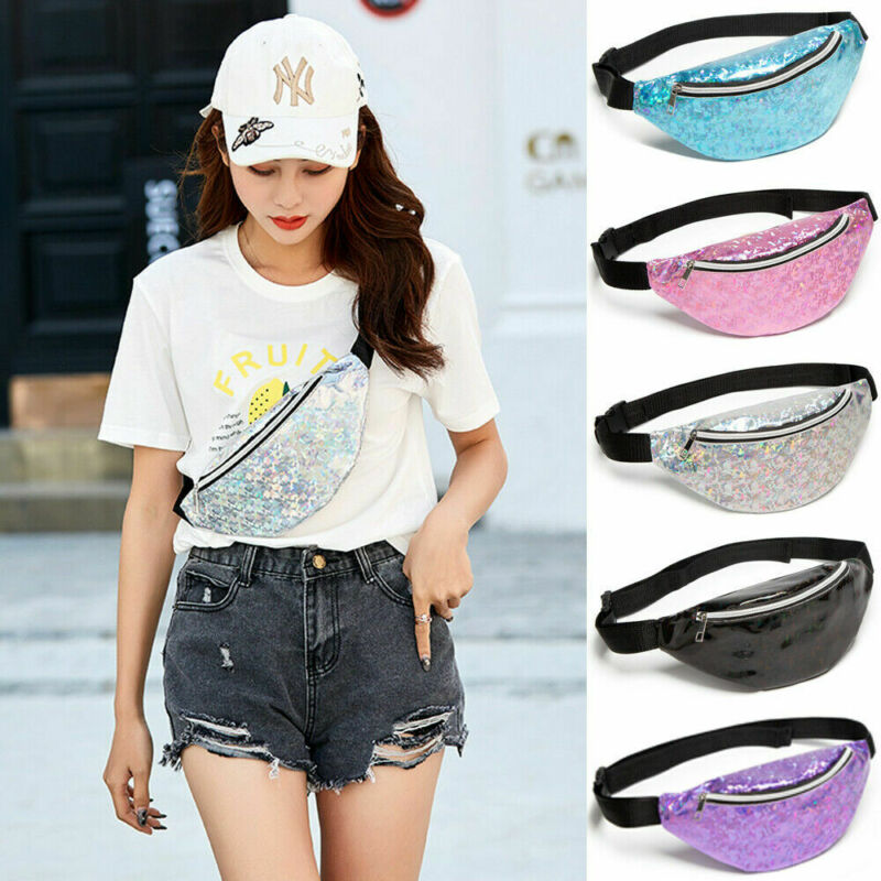 New Arrival Women Girl Waist Pack Floral Glitter Holiday Belt Wallet Bum Travel Bag Pouch Laser Glass Floral Waist Chest Bag