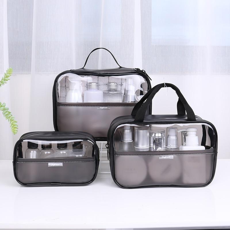 Women Cosmetic Bag Transparent PVC Makeup Bag Set Travel Wash Kit Storage Organizer Pouch Toiletry Box Bag Tote Handbag Pouch