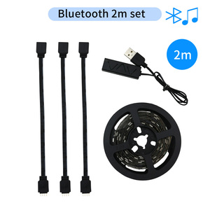 Светодиодная лента RGB с Bluetooth и USB, гибкая неоновая лампа с подсветкой, 5 В, 2 м, SMD5050, мини контроллер Bluetooth, светодиодная лента RGB