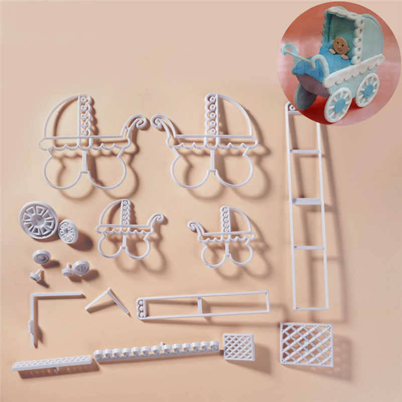 Plastic Stroller Biscuit Cutters Cookie Cutter Set Baby Birthday Shower Cake Mould Kitchen Baking Pastry Tools