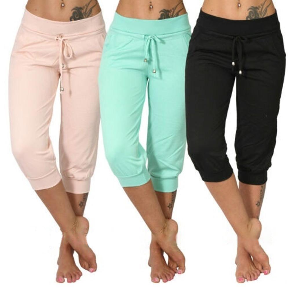 Women Casual Solid Color Low Rise Drawstring Pockets Sports Capri Pants Shorts