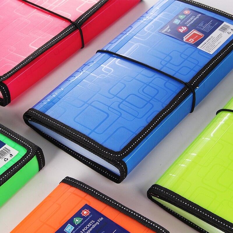 10 Fluorescent Color A6 Expanding File Folder Document Organizer 13 Pockets Accordion Folder Organizer Documents Bag File Box