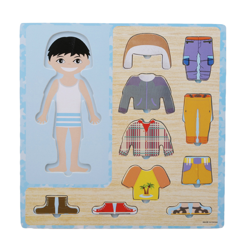 Baby Clothing Matching Puzzle Kids Wooden Toys Children Early Educational Figure Puzzle Games Baby Boys Girls Dress Up Toys Gift