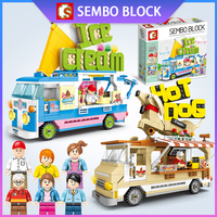 Sembo Blocks Hot Dog Ice Cream Truck Mini Car Model Toy Creator Technic Figures Figurines Series Gift For Girl Boy Friends