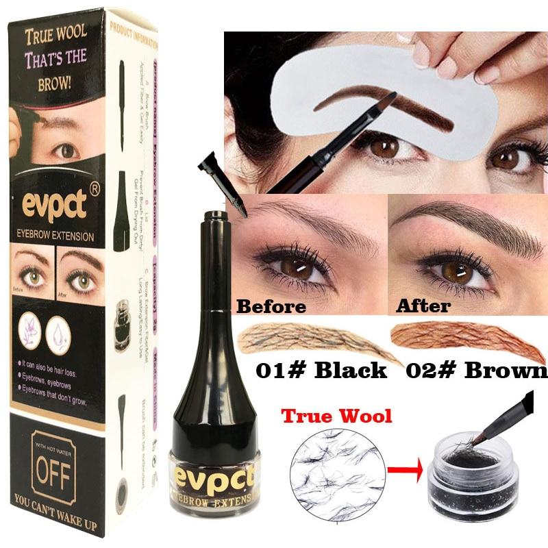 Hottest Eyebrow Extension Tint Gel Hair Fiber Brush Makeup Waterproof Easy Wear Black Brown Eye Brow Tattoo Women Makeup TSLM1(China)